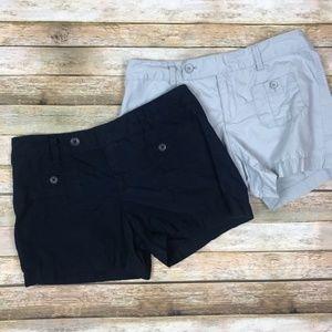 LOFT • Bundle of 2 Cotton Shorts Size 2 Navy Grey